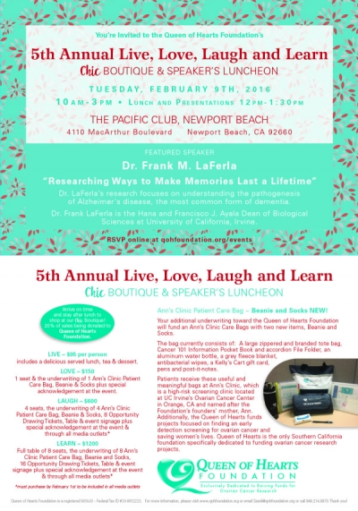 5TH ANNUAL LIVE, LOVE, LAUGH AND LEARN